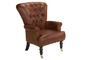 Harrington High Back Chair in Ingrassato & Balmoral Rope Check