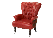 Harrington High Back Chair, High Red Cerato & Sandringham Check