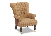 Harrington High Back Chair in Brown Cerato & Althrop Topaz Check