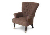 Harrington High Back Chair, Brown Cerato & Belvaird Grape Check