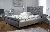 "Orbit Bed In Plush Silver Velvet, 4'6"", 5ft & 6ft"