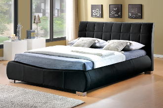 "Dorado Black Faux Leather Bed, 4'6"", 5ft & 6ft"