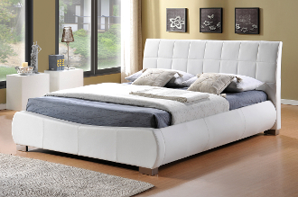 "Dorado White Faux Leather Bed, 4'6"", 5ft & 6ft"