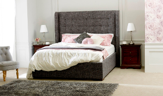 "Aquila Slate Fabric Bed, 4'6"" & 5ft"