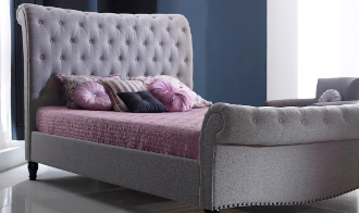 "Larrisa Grey Fabric Bed, 4'6"", 5ft & 6ft"